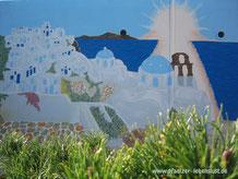 Santorini Gemälde Griechenland aussen Hauswand