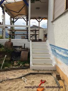 Treppe Fliesen Überzug Beton griechisch verschönern