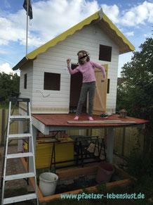 Kinderhaus Holzhaus Terasse Stelzen selbst bauen