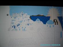 Santorini Wand Griechenland auf Garage selbst malen