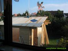 Richtfest Garten Sauna selbst gebaut Blockhaus Holz Gartensauna Aufbau
