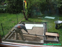 Fundament Garten Sauna selbst gebaut Blockhaus