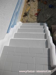 Treppe Fliesen überstrichen Überzug Beton verschönern