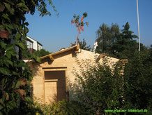 Garten Sauna selbst gebaut Richtfest Blockhaus Holz Gartensauna Aufbau