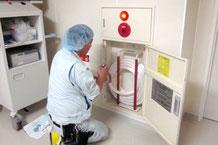 消防設備(消火設備)の1種「消火用散水栓」の点検の様子