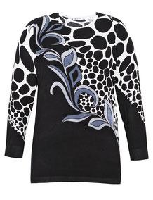 Long-Pullover mit Kreisen schwarz  Gr 48, Damenpulli XXL