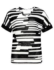 elegantes Top,schwarz-weiß   Grafikstreifen  XXL Gr 50