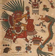 """Codex Borbonicus aztèque (réalisé dans les années 1510, planche 14. Un """" dieu """" reptile dévore un humain sous les yeux complices d'un haut dignitaire aztèque - Cliquer pour agrandir"""