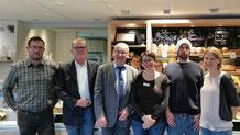 Vertreter des saarländischen Ministeriums für Verbraucherschutz 2018 mit Sygaback und der Bäckerei Lenert