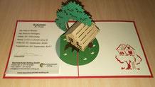 3D Klappkarte Wertgutschein, Bild: Baumhaushotel Solling