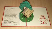 3D Klappkarte, Gutschein für zwei Übernachtungen, Bild: Baumhaushotel Solling