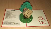 3D Klappkarte, Gutschein für eine Übernachtung, Bild: Baumhaushotel Solling