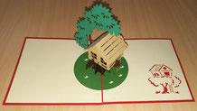 Hochwertige 3D Klappkarte, Motiv Baumhaus,  Bild: Baumhaushotel Solling