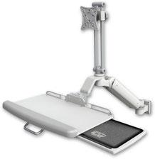 医療向け ウォールチャネルマウント 昇降式 ディスプレイキーボード用アーム:ASUL182EV7-W5-KUP