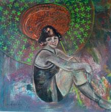 Mathilde in der Sommerfrische  100 x 100 cm, Leinwand