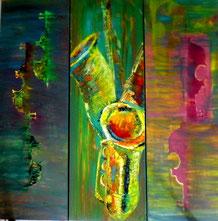 Musikinstrumente 120 x 120 cm, Leinwand