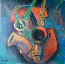 Musikinstrumente 100 x 100 cm, Leinwand