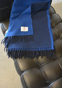 Lambswool Cosy Reversible - Midnight Blue - S. Fischbacher Living