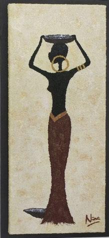 GIRL ZARAH, 35 x 75 cm, Acryl & Sand gespachtelt, CHF 620.--