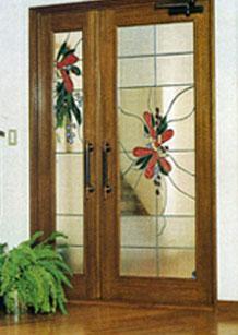 デザイン化された花・デザインのドアのステンドグラス
