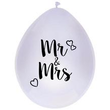 Mr & Mrs ballonnen wit 6 stuks € 2,25