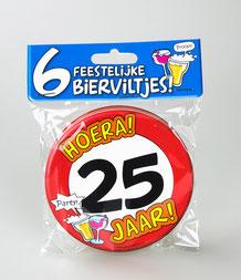 Bierviltjes Hoera 25 jaar 6 stuks € 4,95