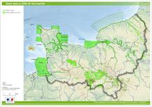 Carte du réseau Natura 2000 en Normandie.