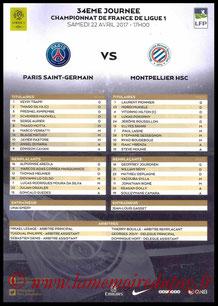 Feuille de match  PSG-Montpellier  2016-17