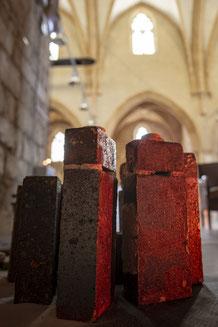 """Installation du """"5ème élément"""" dans la Chapelle des Pénitents de Clermont l'Hérault -34- La Diagonale du Feu"""