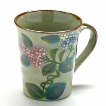 九谷焼通販 おしゃれなマグカップ マグ がく紫陽花ピンク&ブルー『背中・裏絵ブルー』正面の図