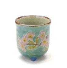 九谷焼通販 おしゃれなお湯呑 湯飲み ゆのみ茶碗 三つ足 ソメイヨシノ 桜 緑塗り