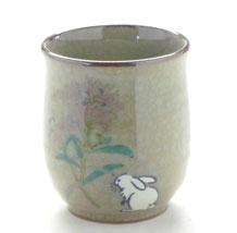 九谷焼通販 おしゃれなお湯呑 湯飲み ゆのみ茶碗 小 白兎なでしこ 裏絵