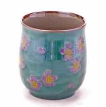 九谷焼通販 おしゃれなお湯呑 湯飲み ゆのみ茶碗 大 グリーン地桜 裏絵