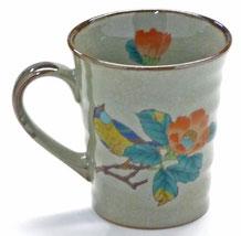 九谷焼通販 おしゃれなマグカップ マグ 左利き様用 椿に鳥 正面の図