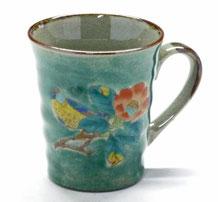 九谷焼通販 おしゃれなマグカップ マグ 緑塗り椿に鳥『裏絵』正面の図