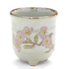 九谷焼通販 おしゃれなお湯呑 湯飲み ゆのみ茶碗 三つ足 ソメイヨシノ 桜