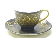 九谷焼通販 おしゃれ ギフト カップ&ソーサー コーヒカップ コーヒー碗  本金金粒唐草