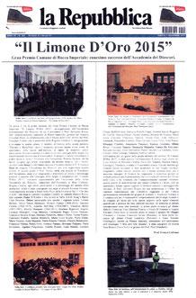 """Articolo di """" Repubblica """" di sabato  7 novembre 2015"""
