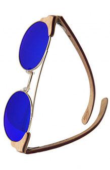 Runde Sonnenbrille aus Holz mit Metallrahmen
