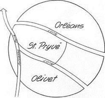 Lageskizze, Orléans liegt ca. 120 km südlich von Paris,  4 km entfernt von Olivet und St.Pryvé.