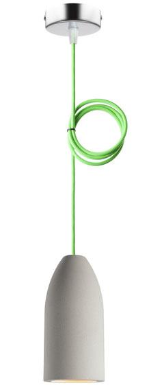 """Betonlampe mit Textilkabel """"Neon Grün"""""""