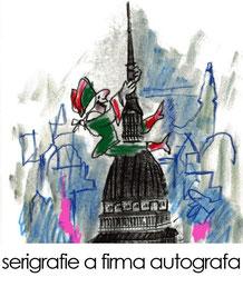 Luzzati Gianduia Mole serigrafia Torino