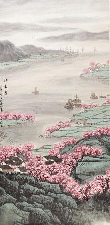 """(предположительно) Song Wenzhi, """"Весна"""", тушь на бумаге, 132 x 67 cm, 1980"""