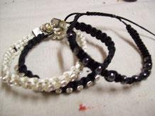 Bracelet shamballa chaîne strass + perles