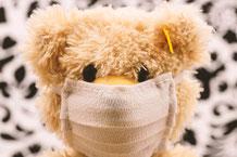 mueden.de, Kuscheltiere, Bild mit Teddy und Mund-Nasen Maske
