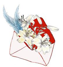 Briefumschlag mit Blumen gefüllt, gezeichnet von Sylvia Jungo