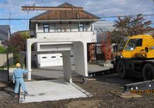 YCカーポート④クレーンによる敷設