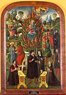 Anonyme, Ardent buisson à Moyse admirable, Puy d'Abbeville conservé au musée de Picardie. 1526-1531.