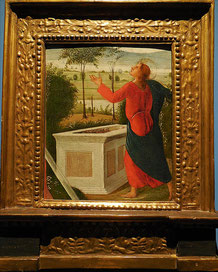 Saint Thomas devant le tombeau de la Vierge, élément de prédelle, Sienne, fin XVe