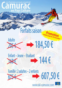 promotion forfaits saison Camurac
